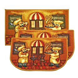 3pc Kashi Home Decorative Food Theme Kitchen Area Rug Slice Floor Mat Carpet Set