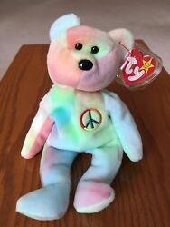 Rare New 1996 Ty Beanie Baby Peace Bear. Ty Europe L.t.d. Hand Made In China.