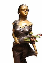 Woman Holding Bouquet Standing On Lily Bronze Statue/fountain 28 X27x 60h.