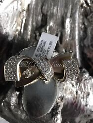 16s Bow Brooch 1st First Class Gold Cc Crystal Airlines Pin Nwt New Nib