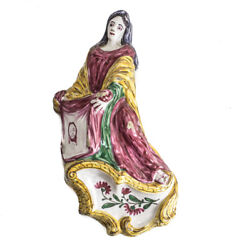 Continental Majolica Pottery Holy Water Font Hand Painted St. Veronica C1800