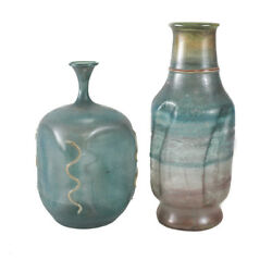 Two Batsheva Israel Art Glass Vases Thin Glass, Bluish Green With Hints Of Pink