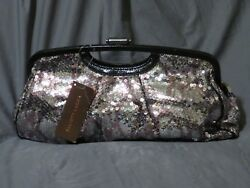 New Elliott Lucca Python Sequin Metallic Leather Pleated Clutch Evening Bag
