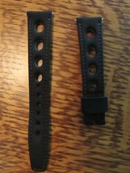 Vintage 18 Mm Corfam Red Stitched Black Rally Sport Watch Strap New Old Stock