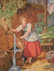 Gobelin Tapestry Intarsia Wooden Hand Made Inlaid Micro Mosaic Girl At The Well