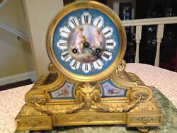 Gilt/silver Ormolu And Sevres Style Porcelain Mantel Clock Made In France Circ