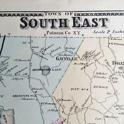 South East Ny Map Putnam, Antique - Real Estate 1867 Dykmans Brewster Milltown