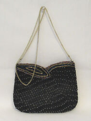VTG 1950s 60s HATO HASI BLACK SATIN BEADED EVENING BAG SHOULDER BAG CHAIN STRAP