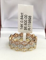 14k Solid Three Tones Gold Cute Set 3 Bands Ring And Vs Diamond 0.84ct Size 6.5