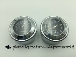 New 7/8-1 Motorcycle Handlebar Mount Watch Black Dial Clock And Thermometer Temp