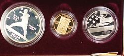 1992-w And S Gold 5 Silver 1 50 Cents Olympic Commem 3 Coin Proof Set In Ogp