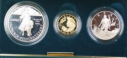 1992-w And S Gold 5 Silver 1 50 Cents Columbus Commem 3 Coin Proof Set In Ogp