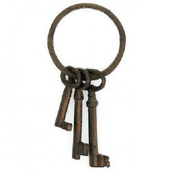 Pirate Ship Jail Skeleton Key Ring Set Cast Iron Costume Movie Stage Prop Rustic
