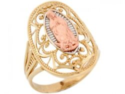 10k or 14k 3 Tone Real Gold Our Lady of Guadalupe Virgin Mary Religious Ring