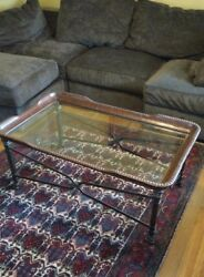 Coffee Table Glass Metal Leather Hand Crafted Original Beautiful
