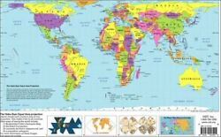 HOBO-DYER EQUAL AREA PROJECTION WORLD MAP By Odt Inc **BRAND NEW**