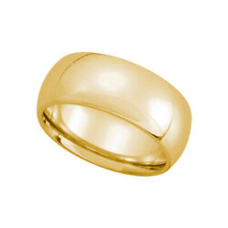 8mm Domed Comfort Fit Wedding Band In 14k Yellow Gold