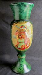Russian Wood Vase With Handpainted Icon Mother Of God Signed