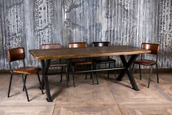 Large Industrial Style 9ft Bespoke Reclaimed Pine And Steel X Frame Table