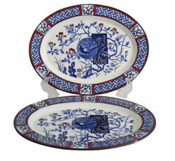 Pair Of Minton Aesthetic Faisan Oval Serving Platters Polychrome 9.5 Blue Red