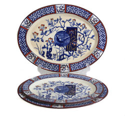 3 Sizes Minton Aesthetic Faisan Oval Serving Platters 9.5 10.75 12.5 Red Blue