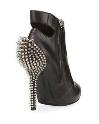 GIUSEPPE ZANOTTI LACE UP BOOTIE SCULPTED SPIKED HEEL Black 9 39 NIB Made Italy