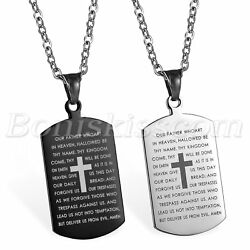 Mens Stainless Steel Cross Crucifix Bible Text Prayer Tag Pendant Necklace Chain $12.99