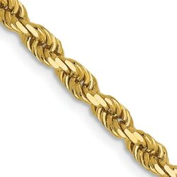 3mm 14k Yellow Gold, Solid Diamond Cut Rope Chain Necklace