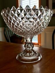 Massive Fine Quality Cut Leaded Crystal Compote Centerpiece-mint And Impressive