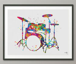Drums Watercolor Print Musician Gift Drum Set Music Instrument Wall Art Dorm Art