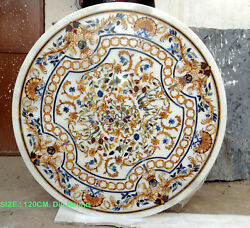 120 Cm White Round Marble Inlay Pietre Dure Dinning Table Top Handmade