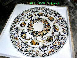 White Marble Inlay Dining Table Top Handmade Marble Inlay Work Home Decor