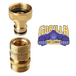 Garden Hose Quick Connector. ¾ Inch Ght Brass Easy Connect Fittings.
