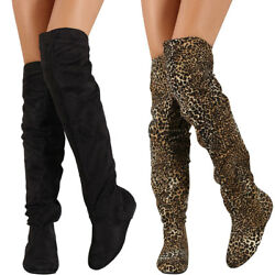 New Women#x27;s Round Toe Slouchy Flat Casual Over The Knee OTK Boots Pull On $29.89