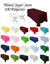 Tablecloth Rectangular For Table 4', 5', 6' Or 8' .multiple Size And Color
