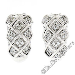 18k White Gold 1.09ctw Round Brilliant Pave Diamond Braided Cuff Omega Earrings