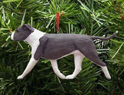American Staffordshire Terrier Ornament BlueWhite