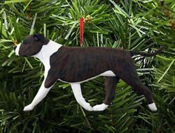 American Staffordshire Terrier Ornament BrindleWhite