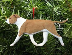 American Staffordshire Terrier Ornament Fawn White