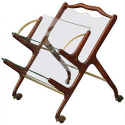 Glass And Walnut Magazine Cart By Cesare Lacca Italy 1955