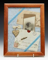 Antique Framed Love Tokens And Letters Collage C.1859