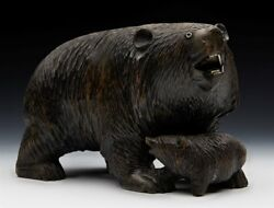 Antique Carved Blackforest Wooden Bear And Cub Figure C.1900