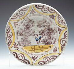 Antique Delft Puce And Yellow Farmyard Bowl 17/18th C.