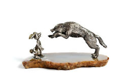 Silver Statue Figurine The Wolf And The Hare