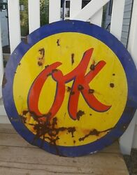 Original Ok 36 Used Cars Porcelain Dealership Service Sign