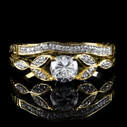 1.25 Ct Round Cut Simulated Vintage Antique Style Wedding Ring 14k Yellow Gold