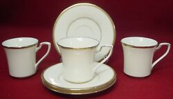 Noritake China Gold And Platinum 7713 Pattern Cup And Saucer Set Of Three 3