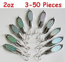 2oz Kast Spoons Silver Holographic Saltwater Fishing Lures Choose Pieces 3 To 50