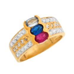 10k Or 14k Two Tone Gold Multi-color Cz Wide Band Motherand039s Day Celebration Ring