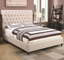 Beige Button Tufted Fabric Full Scrolled Headboard Sleigh Bed Bedroom Furniture